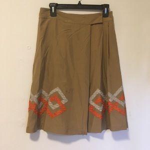 Bottega Veneta Brown Aztec Pleat Midi Silk Skirt S